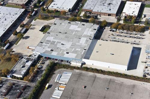 Carol Stream industrial building aerial